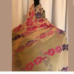 Accessories - Woman's Scarf Beige Floral Pink Purple 80 x 38
